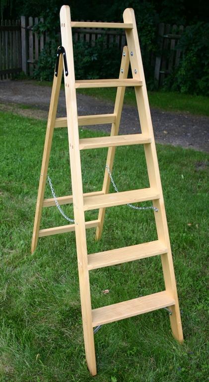 haushaltsleiter stufen stehleiter 3 10 stufen klapp tritt holzleiter holz ebay. Black Bedroom Furniture Sets. Home Design Ideas